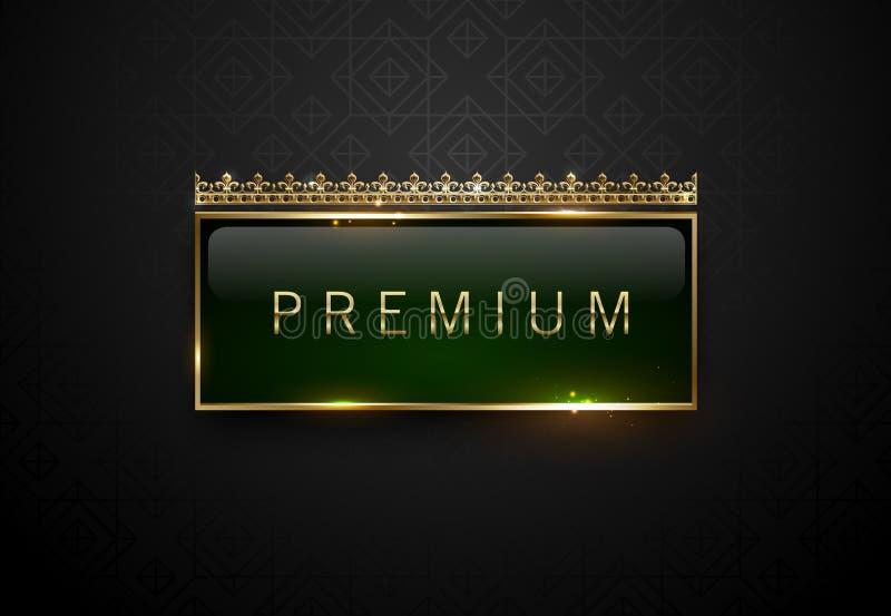 与金黄框架火花的优质绿色在黑几何样式背景的标签和冠 黑暗的豪华商标模板 向量 库存例证