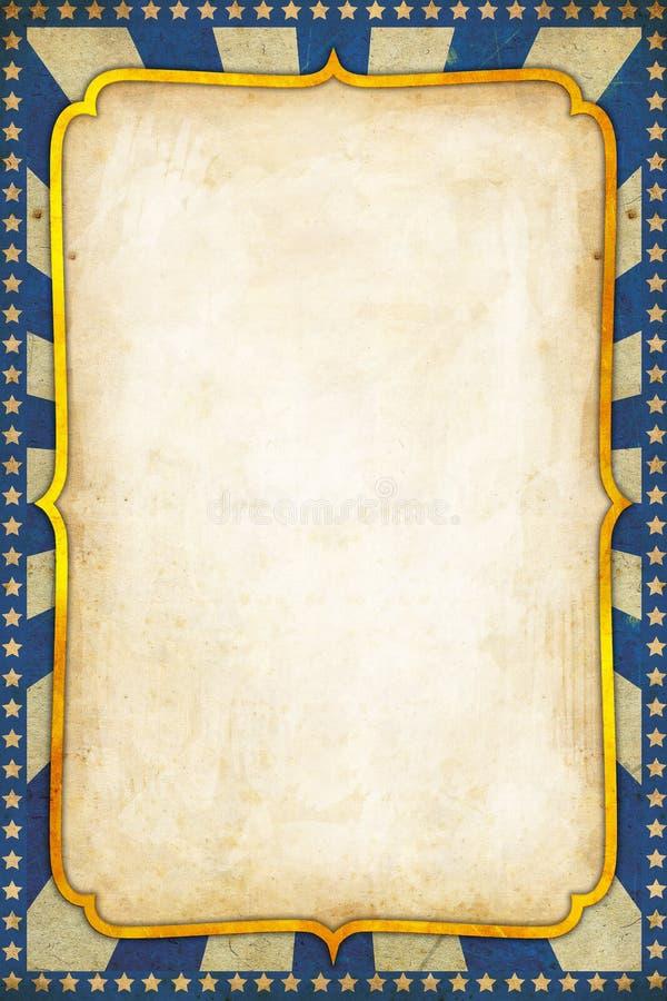 与金黄框架的蓝色葡萄酒马戏海报背景 向量例证