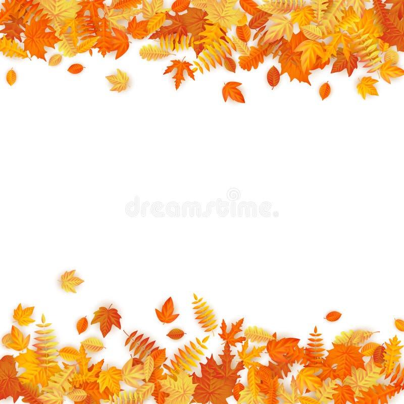与金黄槭树和橡木叶子的秋天模板 10 eps 向量例证