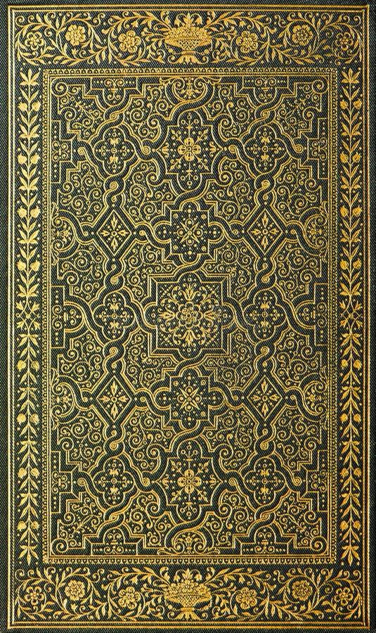 与金黄模式的书套 库存图片
