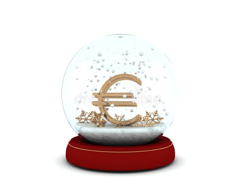 与金黄欧元和雪花的雪地球 库存例证