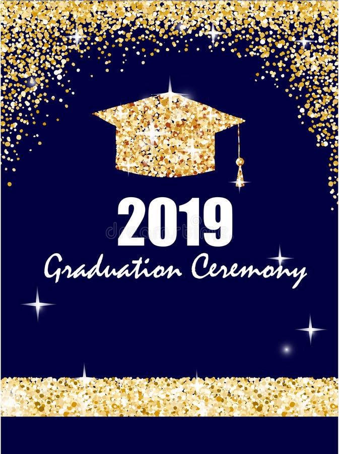 与金黄毕业生盖帽,在深蓝背景的闪烁小点的毕业典礼横幅 祝贺毕业生 向量例证