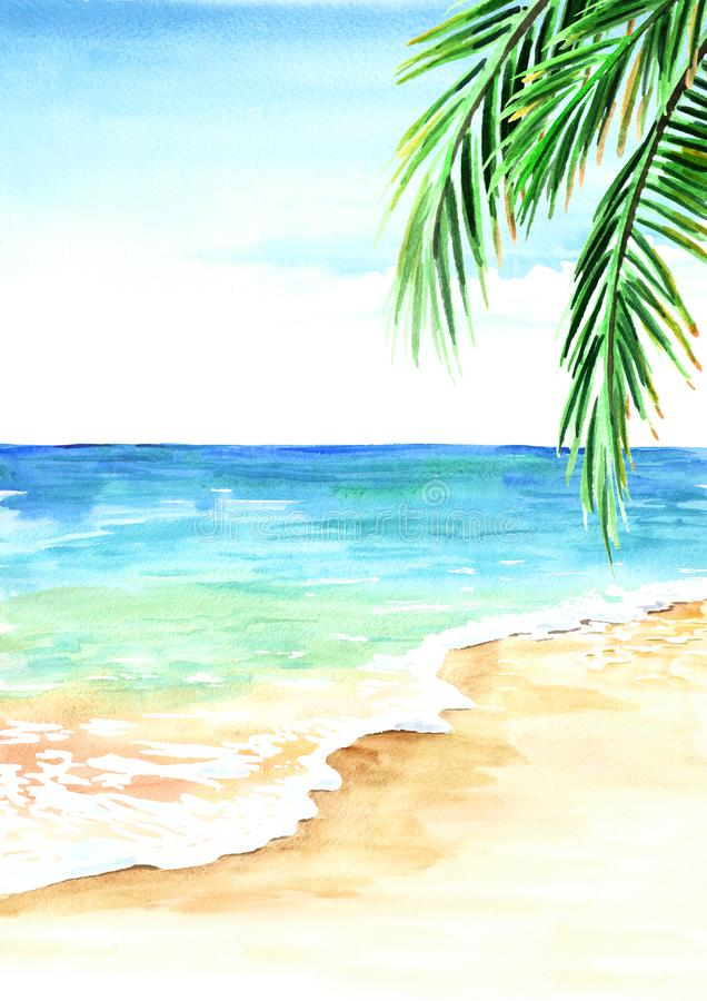 与金黄沙子、波浪和棕榈叶的夏天热带海滩 手拉的水彩例证 皇族释放例证