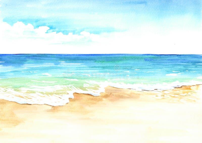 与金黄沙子和波浪的夏天热带海滩 手拉的水彩例证 向量例证