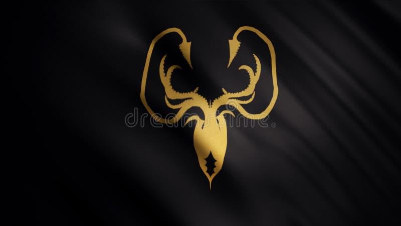 与金黄的振翼的旗子在黑背景,无缝的圈kraken Greyjoy房子象征,王位概念比赛  库存图片