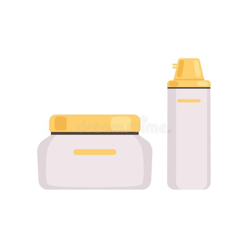 与金黄盖帽、面孔化妆用品、化妆水、血清或者奶油瓶的Skincare化妆包裹导航例证 向量例证
