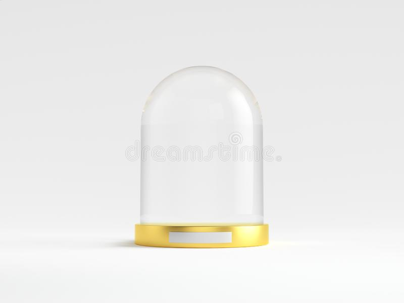 与金黄盘子的玻璃圆顶在白色背景 皇族释放例证