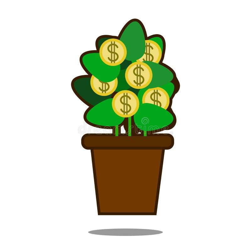 与金黄硬币的金钱树 在罐的结构树 在空白背景查出的向量例证 网站页和机动性 皇族释放例证