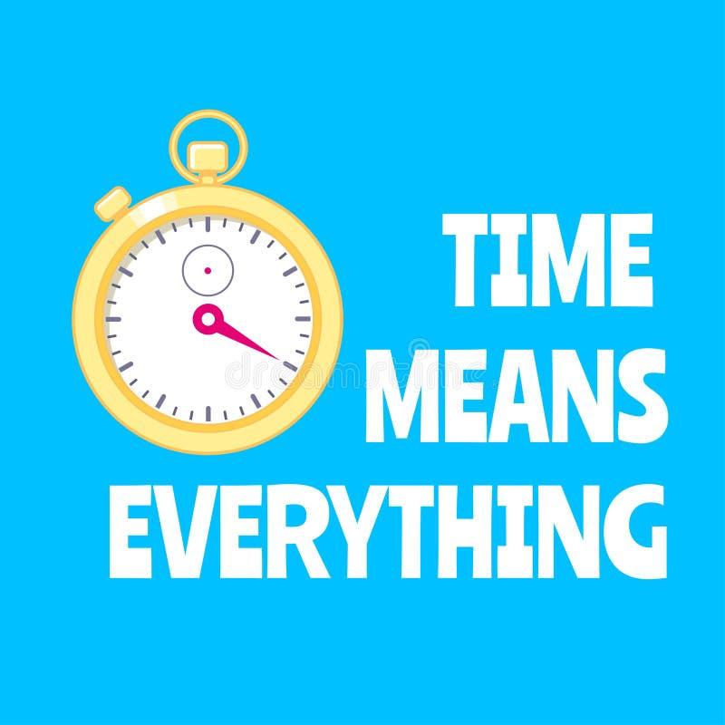 与金黄秒表的刺激海报 时间意味一切 库存例证