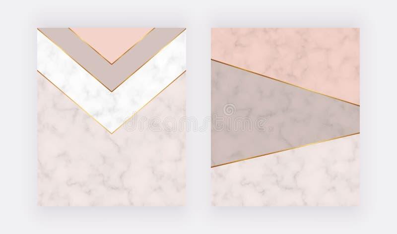 与金黄线和三角形状的裸体几何卡片 横幅的,飞行物,海报,问候,婚姻的invitatio时髦模板 免版税库存图片