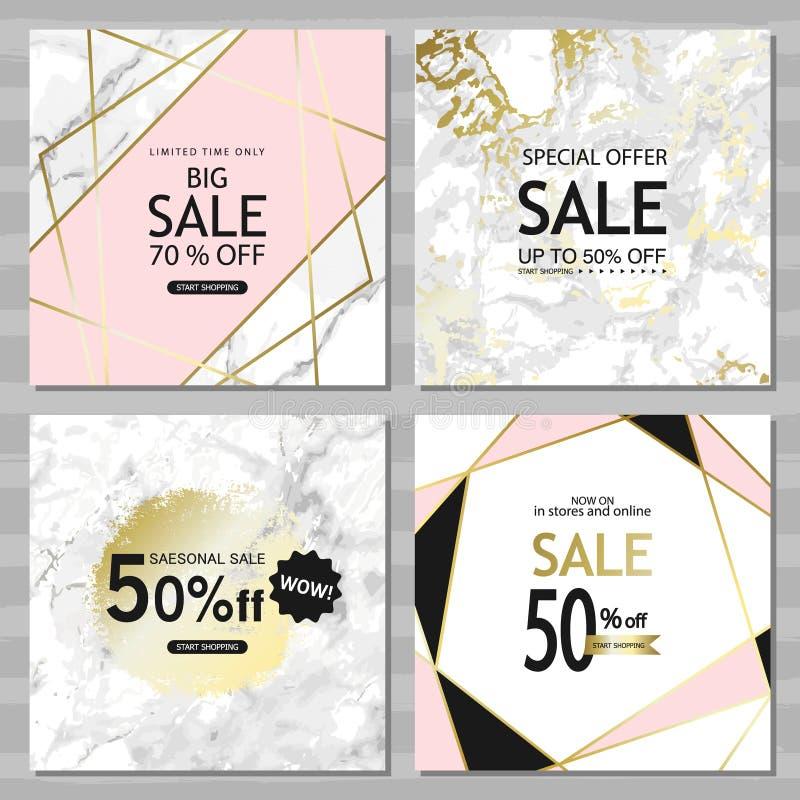 与金黄线,三角,大理石纹理背景的现代几何社会媒介横幅 设计卡片的方形的模板, fl 皇族释放例证