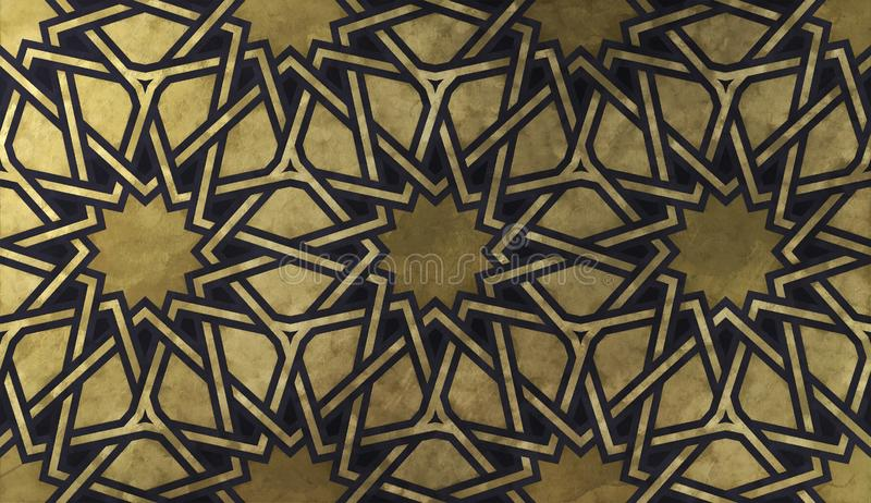 与金黄艺术性的纹理的伊斯兰教的装饰样式 免版税库存图片
