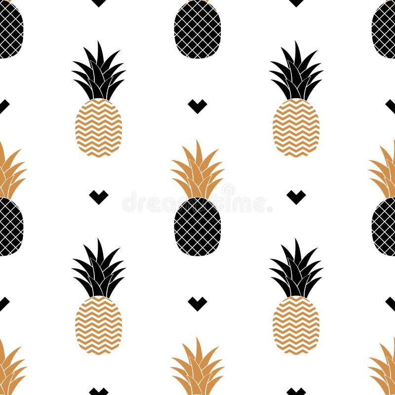 与金黄菠萝的图片的简单的无缝的背景 向量 库存例证