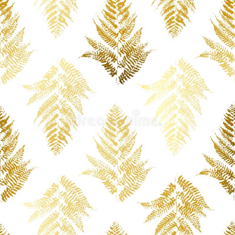 与金黄蕨的无缝的样式 皇族释放例证