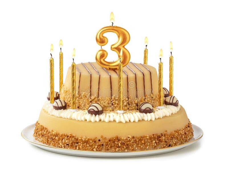 与金黄蜡烛的欢乐蛋糕-第3 库存照片