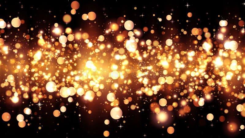 与金黄闪烁微粒的背景 优质设计的美好的假日背景模板 明亮的金微粒 库存照片