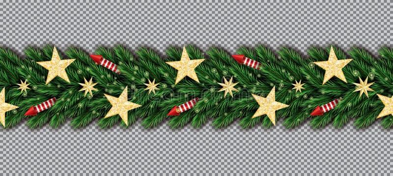 与金黄闪烁星、圣诞树分支和红色火箭队的圣诞节边界在透明背景 库存例证