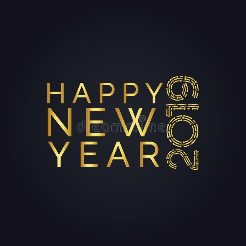 2019与金黄闪烁的金黄新年标志在黑背景 库存照片