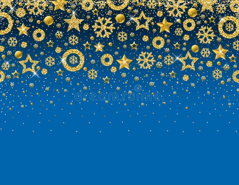 与金黄闪烁的雪花框架的蓝色圣诞卡片  皇族释放例证