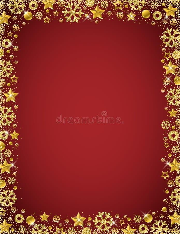 与金黄闪烁的雪花边界的红色圣诞卡片  库存例证