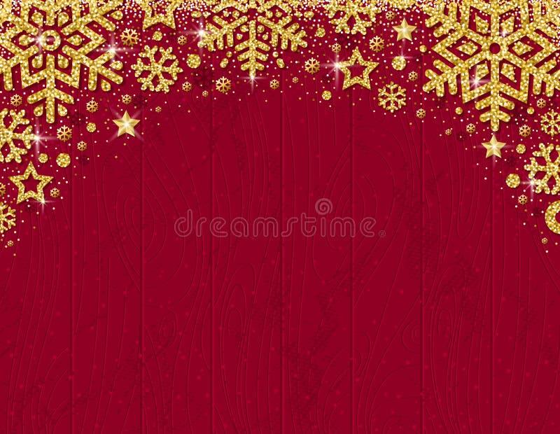 与金黄闪烁的snowf框架的红色木圣诞卡片  库存例证