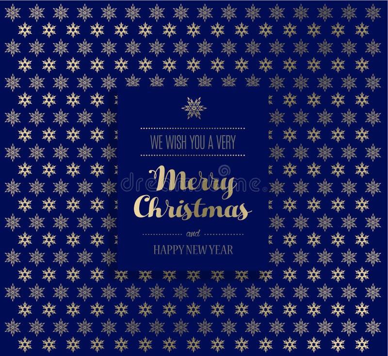 与金黄雪花的圣诞节背景和圣诞快乐标记 库存例证