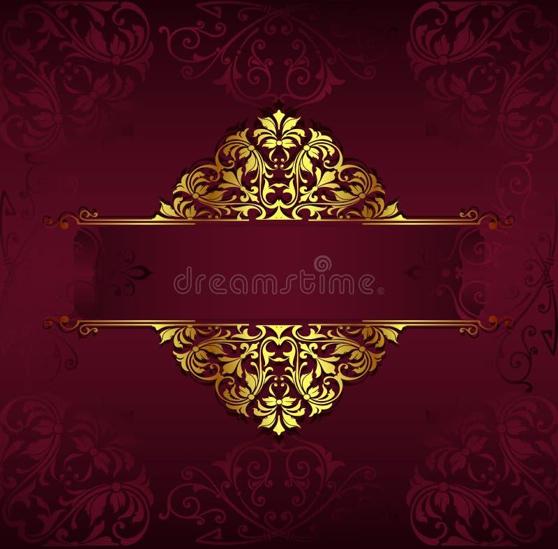 与金黄鞋带装饰品和艺术装饰花卉装饰元素的葡萄酒背景 向量例证