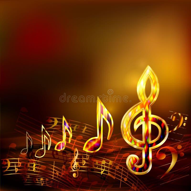 与金黄音符和高音谱号的黑暗的音乐背景 库存例证