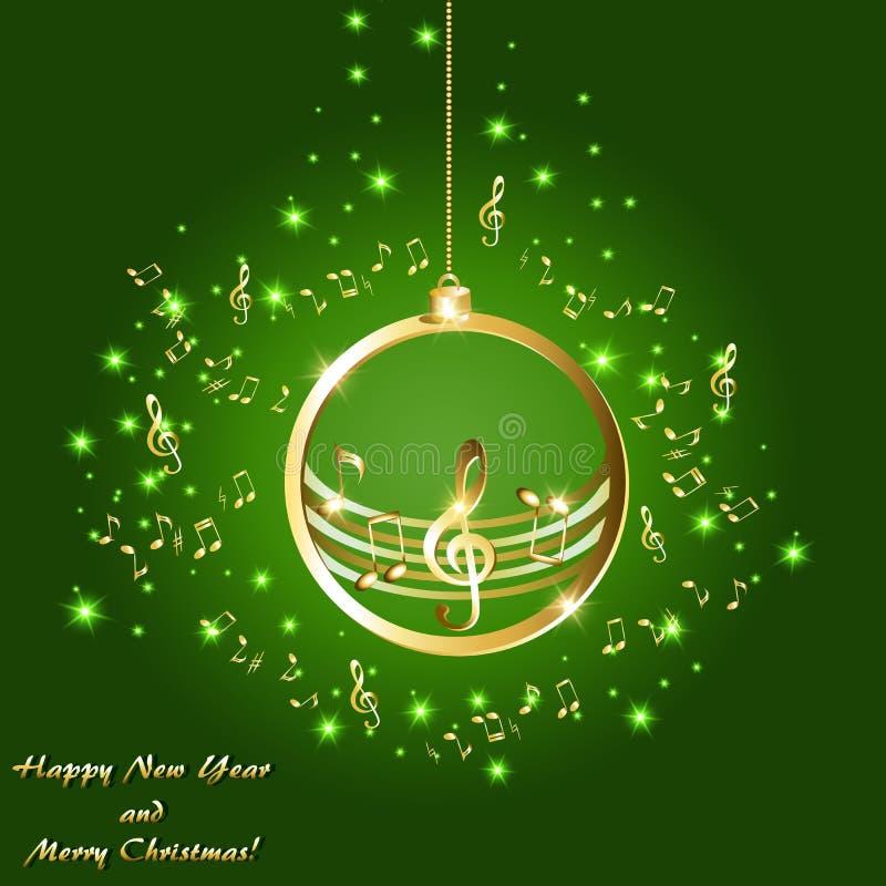与金黄音符的圣诞卡片关于绿色背景 向量例证