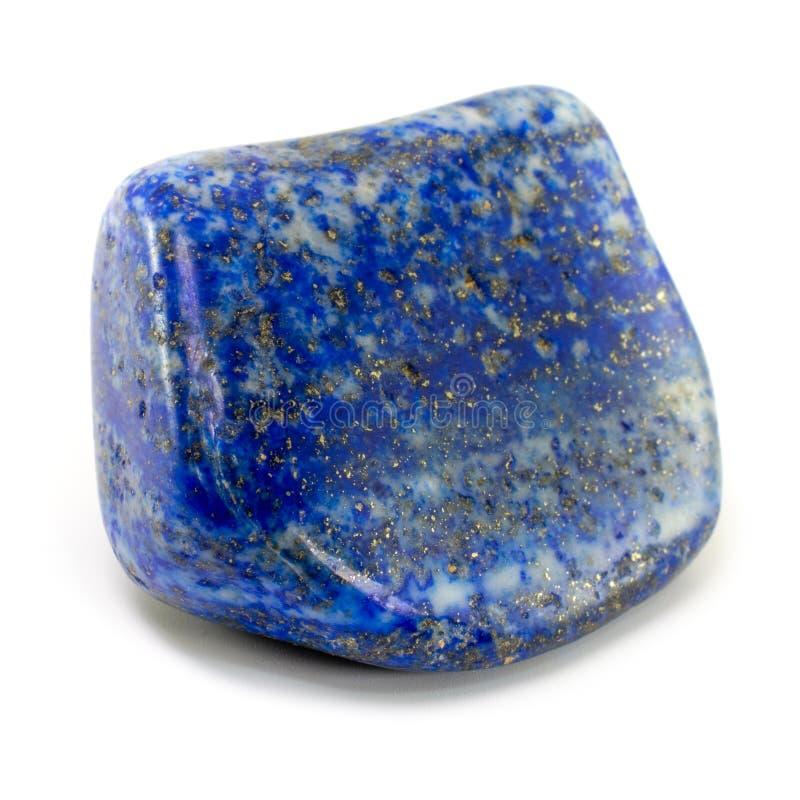 与金黄颜色硫铁矿的饱和的蓝色天青石宝石,隔绝在白色背景 被环绕的光滑的表面 库存图片
