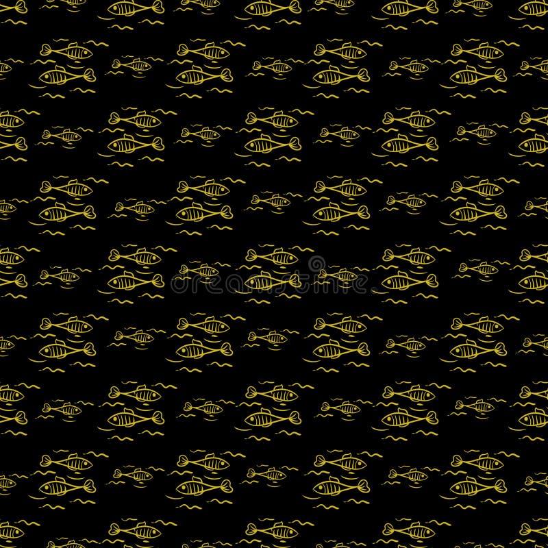 与金黄风格化鱼的无缝的背景在黑背景 库存例证