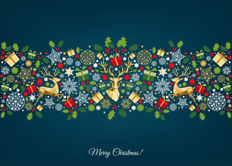 与金黄,红色,绿色,白色树的圣诞节样式 库存例证