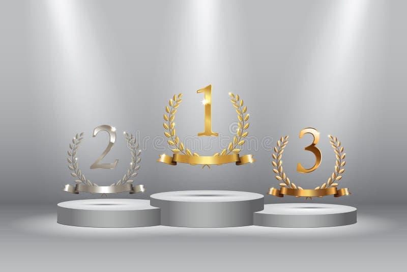 与金黄,银色和古铜色月桂树的优胜者背景缠绕与丝带和首先,第二个和第三名标志  向量例证