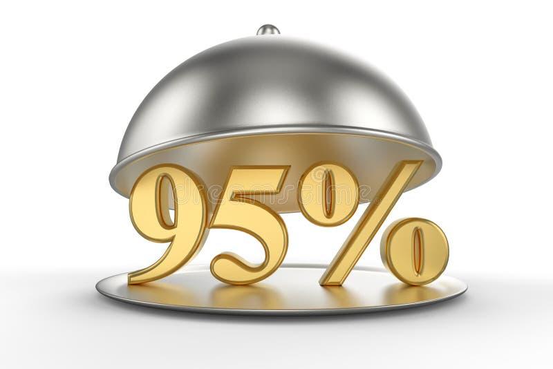 与金黄95%的餐馆钓钟形女帽标志 库存例证