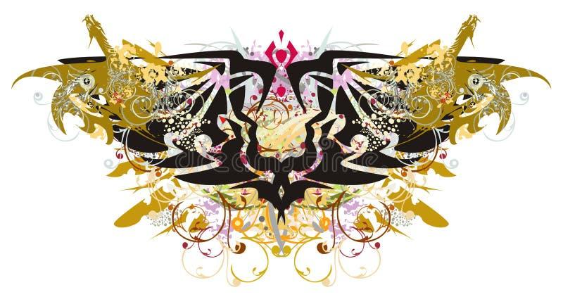 与金龙的难看的东西双重老鹰标志 皇族释放例证
