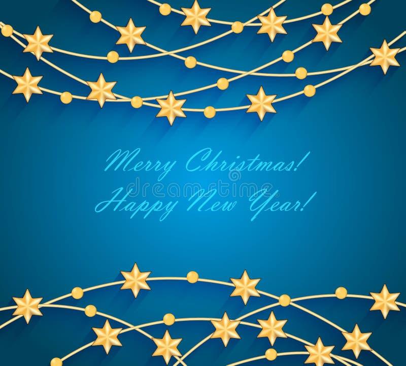 与金黄中看不中用的物品和星的圣诞节背景 向量例证