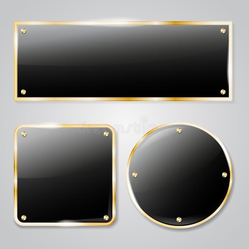 与金黄元素的发光的墨镜框架 向量例证