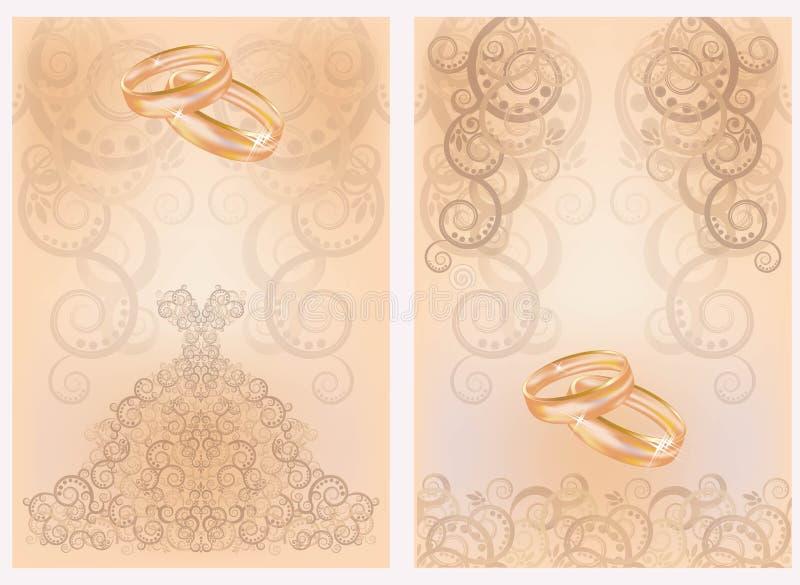 与金黄圆环的两张婚姻的邀请卡片 向量例证