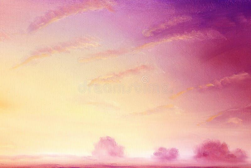 与金黄天空和树的美好的风景风景在天际 在画布的油画 库存例证