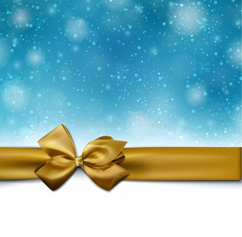 与金黄弓的圣诞节蓝色背景 库存例证