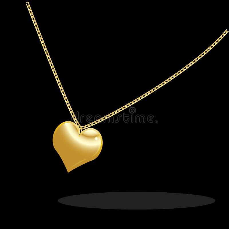 与金黄心脏的项链在黑背景 向量例证