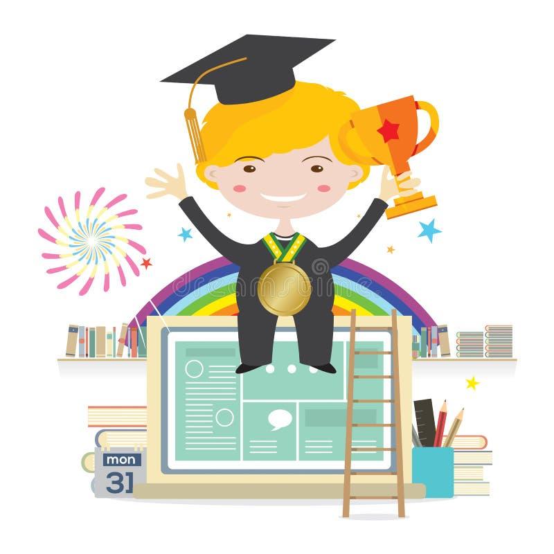 与金黄战利品的男孩佩带的毕业衣服坐膝上型计算机代表对成功教育 向量例证