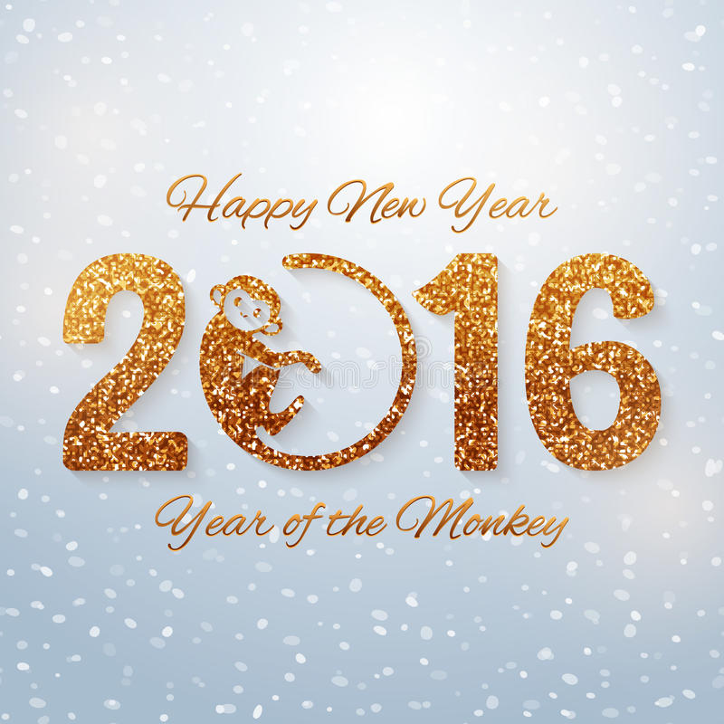 与金黄文本,猴子的年,年2016设计,传染媒介例证的新年明信片 向量例证