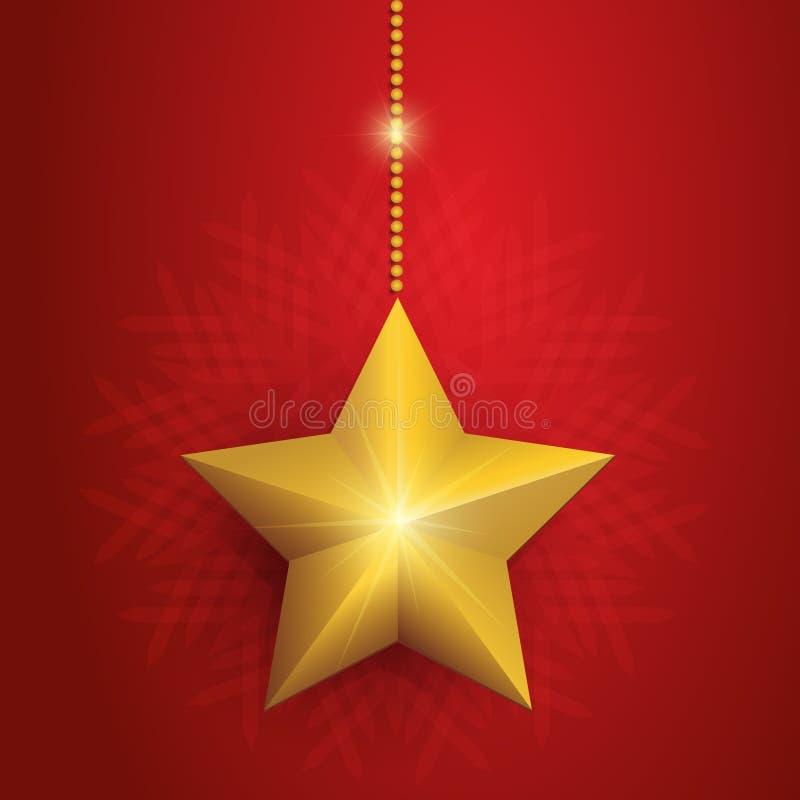 与金黄星的红色圣诞卡 免版税图库摄影