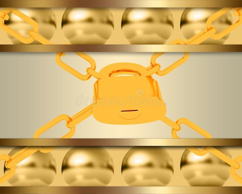 与金黄球形和挂锁的抽象模板 库存例证