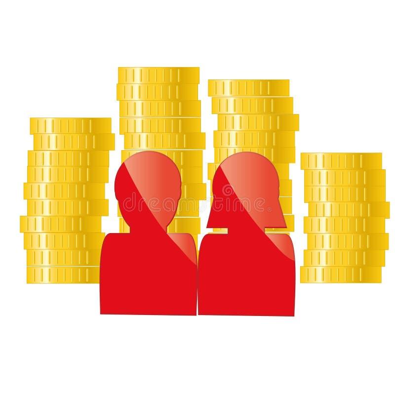 与金黄硬币的家庭象 银行业务,信用,贷款概念 库存例证