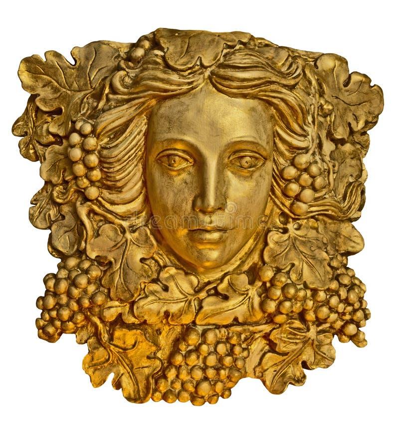 与金黄纹理的葡萄头发希腊妇女灯台雕象 免版税库存图片