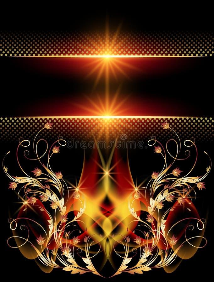 Download 与金黄装饰品的背景 向量例证. 插画 包括有 火焰, 装饰, 光晕, 闪烁, 金黄, 数字式, 定量, 国界的 - 30330884