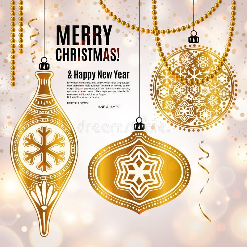 与金黄装饰物xmas球、雪花和珍珠的圣诞卡 与bokeh光的背景 向量 库存例证