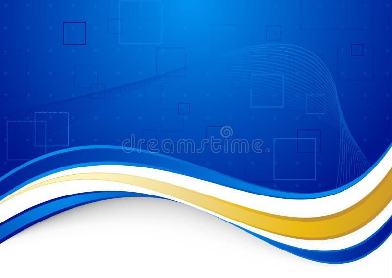与金黄边界的蓝色communicational背景 向量例证